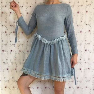 Powder Blue Fringe Dress
